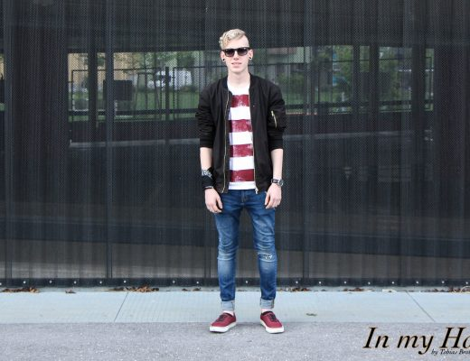 MY STYLE Bold Stripes T-Shirt mit Bomberjacke, In my Hood, Tobias, Austria, Steiermark, Graz, Grazer Blogger, OOTD, WIW, What I wore, Instastyle, Style is what, Streetstyle, Fashionaddict, Mensfashion, Mensstyle, Men with style, Fashiongoals, Fashionkilla, styled, Styleguide, Fashionblogger, Styleblogger, Lifestyleblog, Lifestyleblogger, Bloggerstyle, Bomberjacke, Vans, Jeans, Ray Ban, Bold Stripes T-Shirt